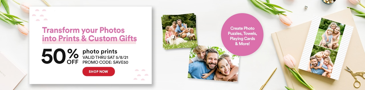 Shop now to turn your photos into personalized products