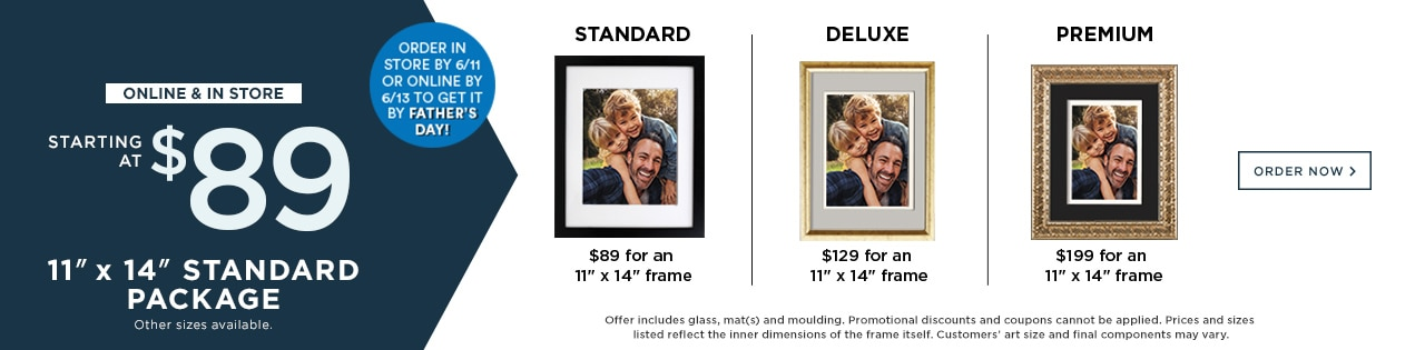 "11""x14"" Standard Package Starting at $89. online & In Store."