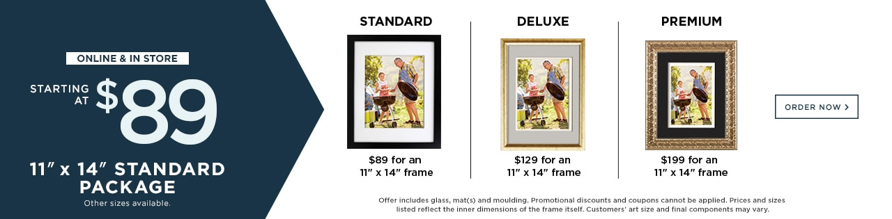 """11""""x14"""" Standard Package Starting at $89. online & In Store."""