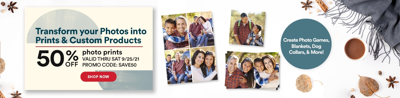 Transform your photos into prints & custom products. 50% off photo prints. Promo code: SAVE50
